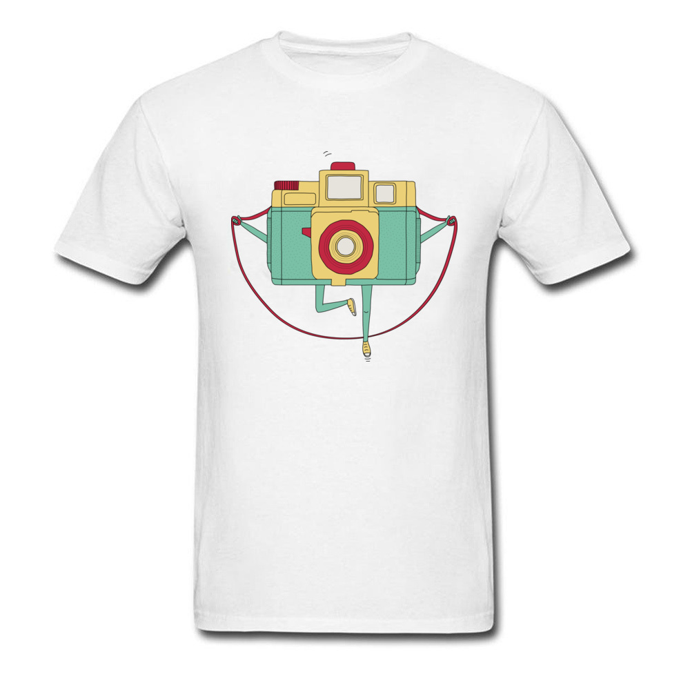 123 Klik 2018 Trendy Cartoon T-shirt Rope Skipping Camera Print Mannen Katoenen Witte T Shirts Leuke Grappige Vakantie Tees Online Winkel