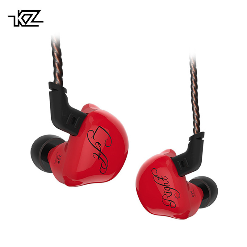 KZ ZSR Six Drivers Armature And Dynamic Hybrid Headset HIFI Bass Noise Cancelling Earbuds In Ear Earphones White Red original awei es q3 headset noise isolation bests sound in ear style hifi earphones for phone mp3 mp4 players 3 5mm jack