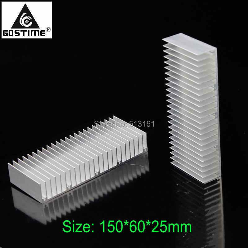 2 Pieces Gdstime 150x60x25mm Aluminum Heatsink Extruded Profile Heat sink Radiator for Electronic Heat Dissipation