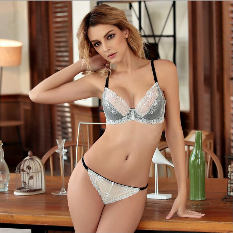d2f3b6ffd5787 HOT 2017 Ultra thin sexy cutout lace bra set push up thin breathable  underwear plus size temptation transparent bra set -in Bra   Brief Sets  from Underwear ...
