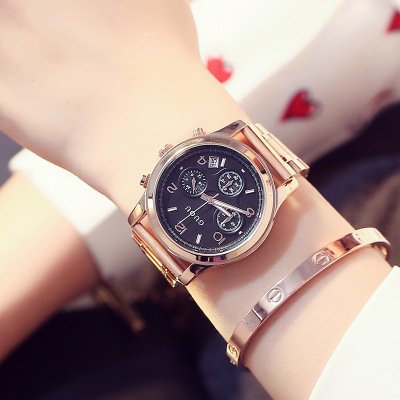 GUOU New Luxury Classic Ladies stainless steel Watch Fashion Three eyes Quartz Women Watches Casual Ladies Gift Wrist Watch Hot 2016 new ladies fashion watches decorative grape no word design gold watch stainless steel women casual wrist watch fd0107