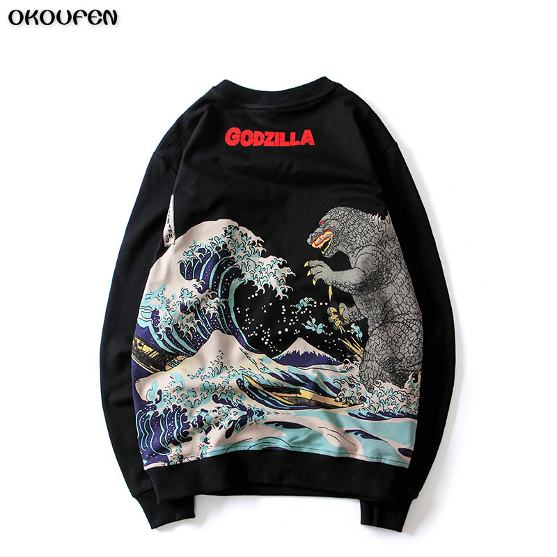 2018 Free Shipping Mens New O-Neck Long Sleeve Outerwear Godzilla Hoddies Mens Casual Sweatshirt Jacket WY5 ...