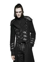 Готический Для мужчин зимнее пальто двойной молнии Военная Униформа Armour с длинным рукавом Заклепки Jacke два носить шерстяное длинное пальто