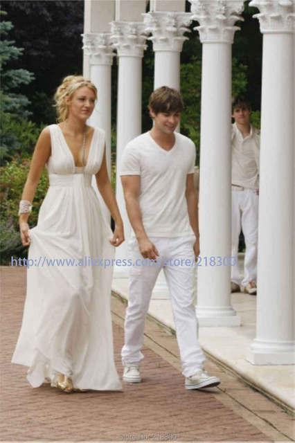 Gossip Girl Blake Lively Weiß Chiffon Abendkleid Lange Plissee ...