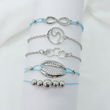 Good Quality 5 Pcs Alloy Adjustable Sea Shell Bracelet Set  A Decoration For Fashion Women Jewelry Party Beach Accessories