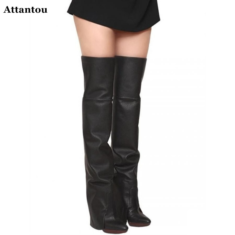 2017 Fashion Women Genuine Leather Boots Platform Wedges Shoes Winter Boots Autumn Leather Boots Woman Over The Knee Long Booty dijigirls new autumn winter women over the knee boots shoes woman fashion genuine leather patchwork long high boots 34 43