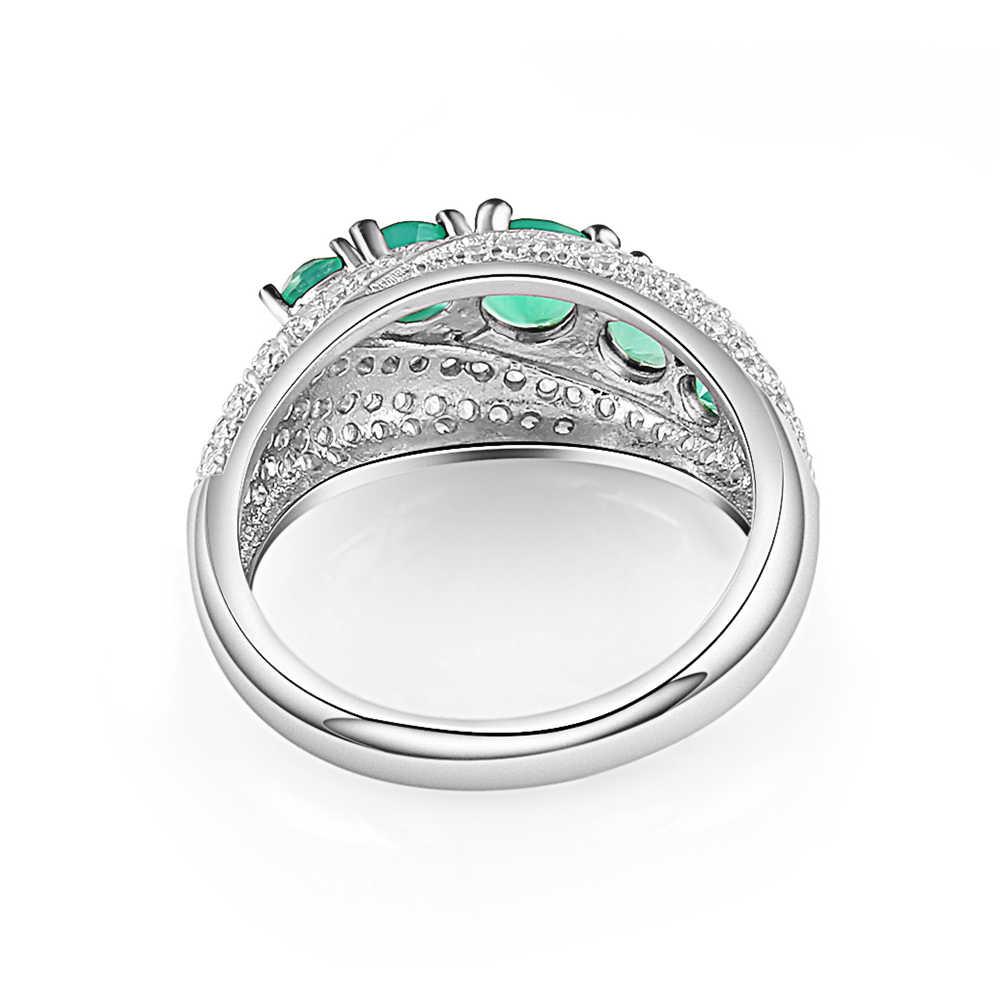 อัญมณีบัลเล่ต์ Elegant เครื่องประดับ 925 เงินสเตอร์ลิง 1.22Ct ธรรมชาติสีเขียวอาเกตแหวน