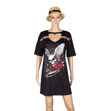 Women T-Shirt Dress Sexy Skull Print Dress Causal Summer Dress Black Mini Dress Women Clothing Plus Size LJ8515M