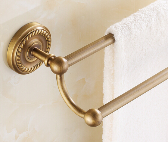 High Quality Antique brass wall mounted 24 inch Double Towel Bar Towel Holder Bathroom hardware,Bathroom accessories