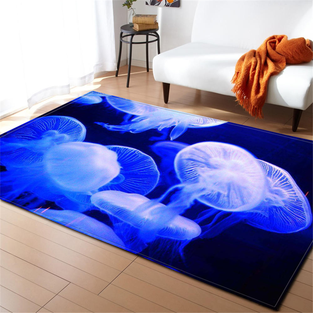 3D Jellyfish Rug Carpet Children Room Decor Mat Anti slip Soft Bedroom Living Room Cartoon Ocean Fishes Baby Crawling Carpets