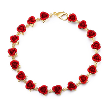 StrollGirl Hot Rose Gold Color link Chain Romantic Bracelet with Red Enamel Jewelry making for women gift Free Shipping