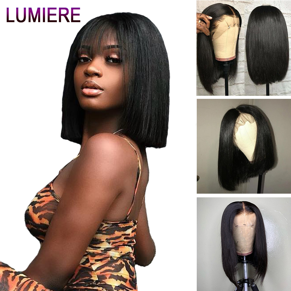 Lumiere Hair Brazilian Lace Front Human Hair Wigs Remy Bob Wig Short Human Hair Wig With