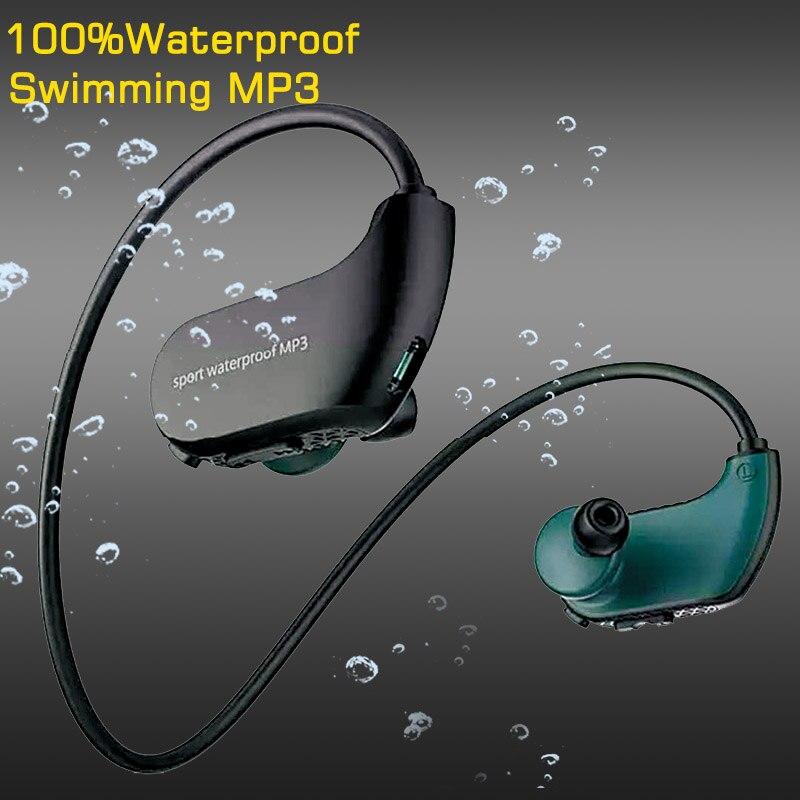 Original 100% étanche Mp3 lecteur natation écouteurs IPX8 Sport écouteurs 8 GB MP3 casque USB Mini HIFI lecteur de musique haut-parleur