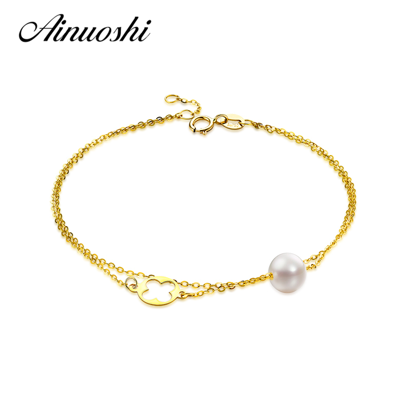AINUOSHI 18K Yellow Gold Natural Cultured Freshwater Pearl Double Layer Bracelet Four Leaf Clover Brace lace for Young Lady Gift