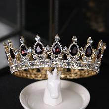 Barokowa luksusowa kropla wody kryształowe diadem i korony włosy ślubne biżuteria duże Rhinestone korona ślubne ślubne akcesoria do włosów LB tanie tanio ACRDDK Ze stopu cynku TRENDY Hairwear Moda 41745 Tiary Kobiety