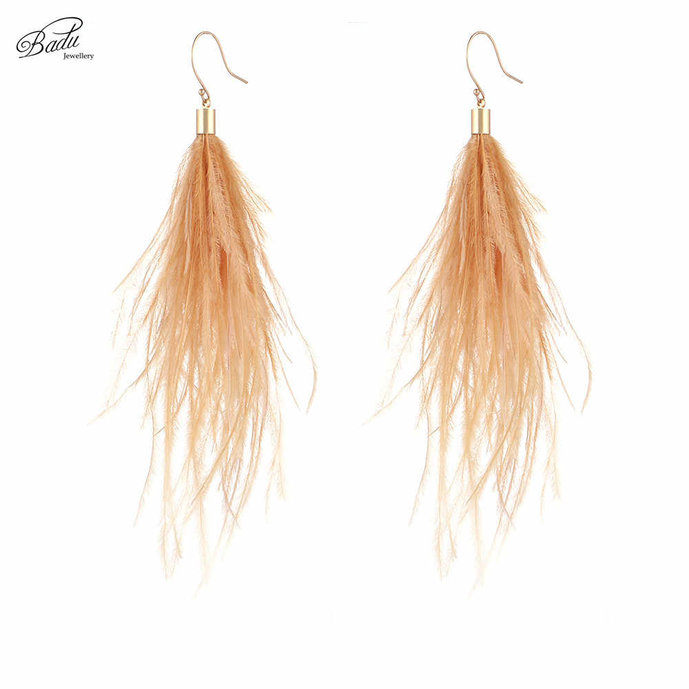 Badu Long Earring Ostrich Feather 3 Colors 2017 Women Dangle Drop Earring Vintage Fashion Jewelry Original Design Wholesale
