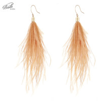 Badu Long Earring Ostrich Feather 3 Colors 2017 Women Dangle Drop Vintage Fashion Jewelry Original Design Wholesale