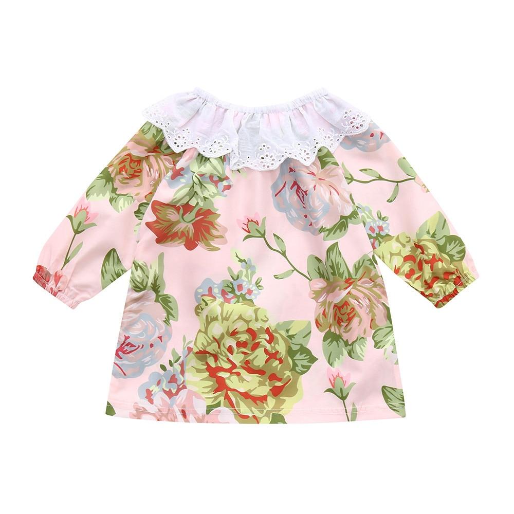 CHAMSGEND для новорожденных девочек Смешанный хлопок одежда с длинным рукавом с цветочным принтом кружевное платье Детская одежда JAN24 P30