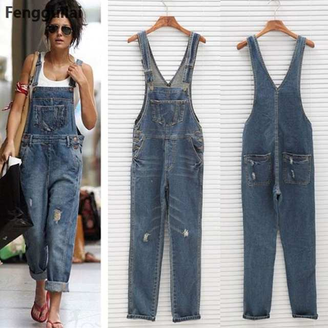 38961162a9f5 Online Shop 2018 New Stylish Casual Loose Vintage Women Denim Overalls  Scratched Washed Ripped Hole Girl Full Lengt Pants Female Jumpsuits