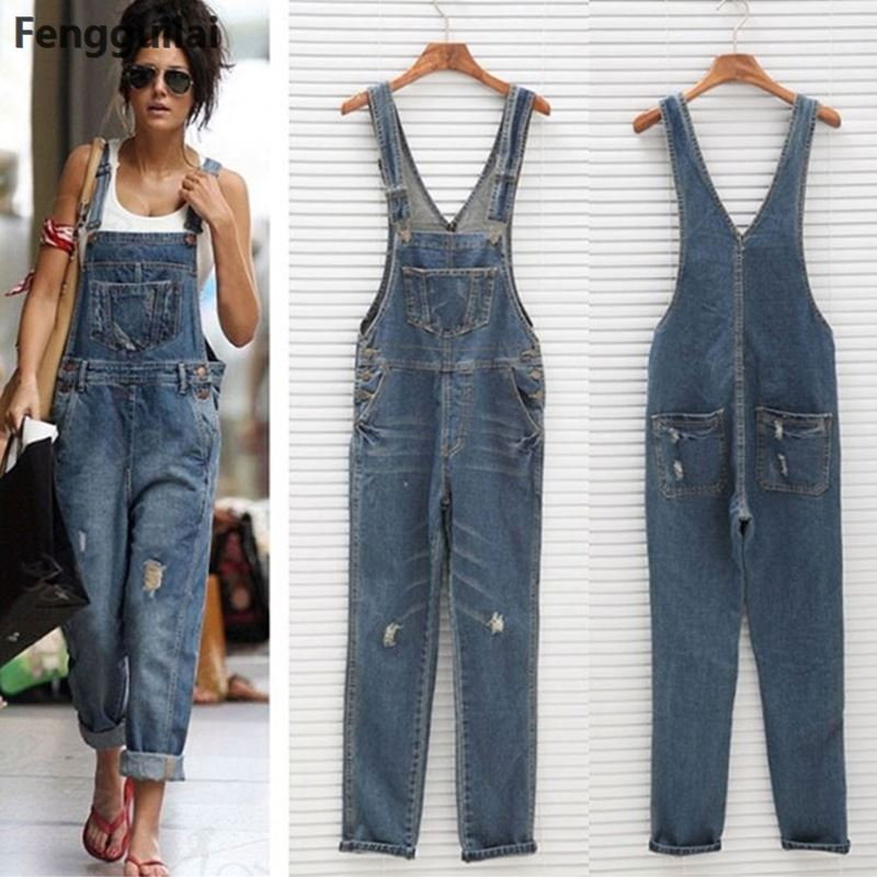 New Stylish Casual Loose Vintage Women Denim Overalls Scratched Washed Ripped Hole Girl Full Lengt Pants Female Jumpsuits