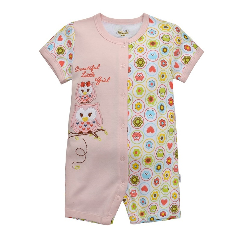 b44741475 CUTE BABY CLOTHES Owl baby rompers Outfits Cotton girls clothes pink baby  jumpsuits one-piece shirt