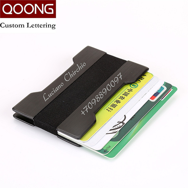 b16180b9a95b QOONG Metal ID Credit Card Holder Case Several Colors Pocket Box Business  Cards Wallet With RFID Anti-chief Wallet Men Women