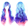 Free shipping New  Womens Harajuku Lolita Rainbow 70cm Long Curly Hair Ladies Multi-colored Full Wigs Anime Cosplay Wig 210g