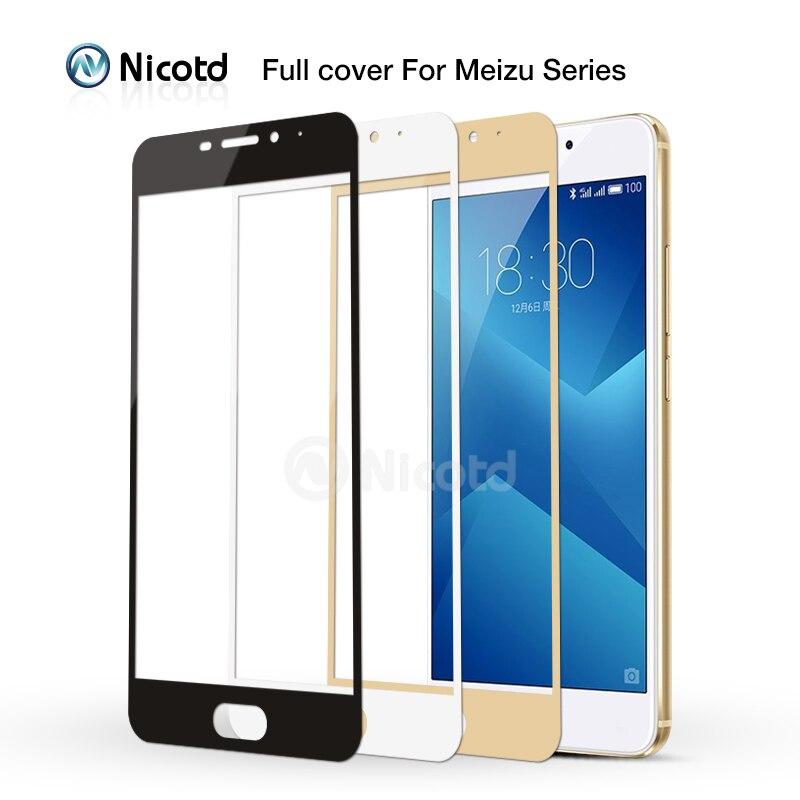 Nicotd 9H funda completa templada de vidrio para Meizu M3 nota M3S M3 Mini Max M3E M3X Pro 6 Plus U10 U20 M5 nota M5s película protectora
