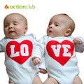 Две Детские Боди New Baby Clothing Длинным Рукавом Комбинезон Мальчики Девочки Осень Одежда Новорожденного Брат-Близнец Сестры Костюм