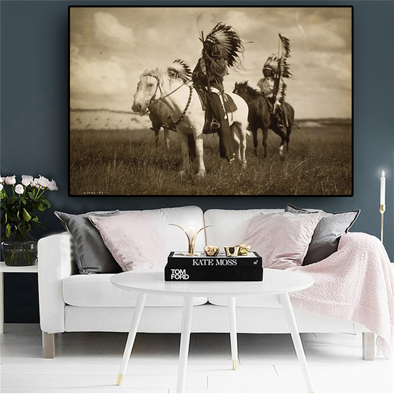 Abstract Black And White Native  Posters And Prints Oil Painting On Canvas Cuadros On The Wall Picture For Living Room