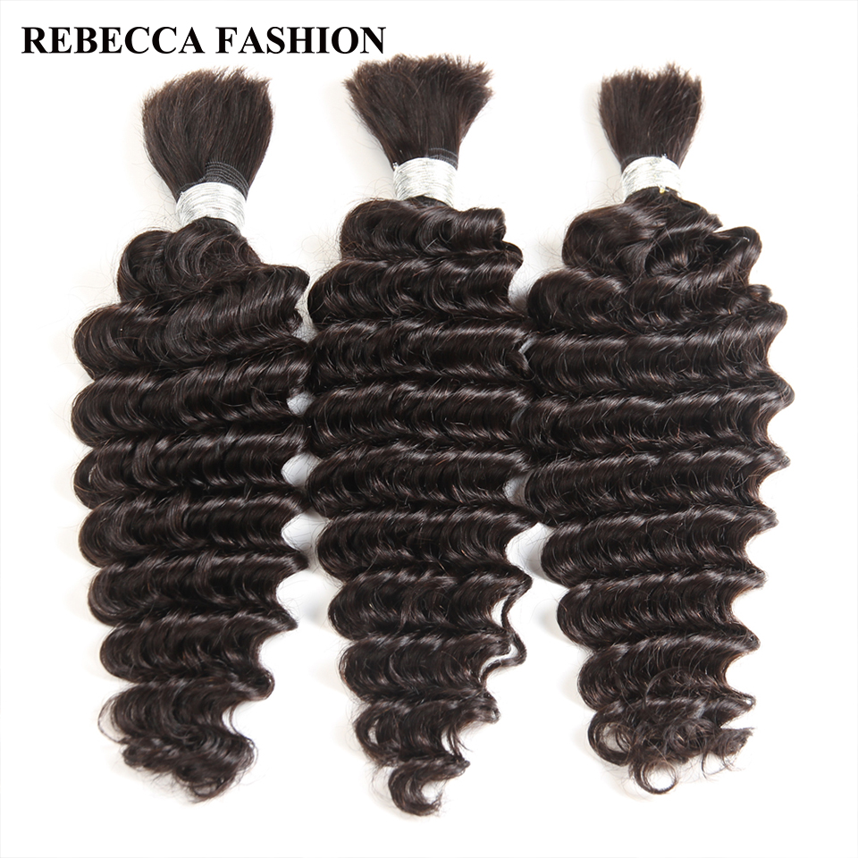 Rebecca Brazilian Remy Deep Wave <font><b>Bulk</b></font> Human Hair For Braiding 3 Bundles Free Shipping 10 to 30 Inch Natural Color Extensions image