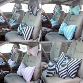 Cute Stripe Bowknot Car Neck Headrest Pillow Creative Auto Safety Seat Head Supports Cushion Waist Lumbar Support For Girls