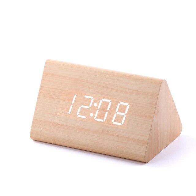 4416c847610 2018 New Temp + Data + Hora Soa Controle De Madeira Relógio Despertador  Branco Levou Despertador