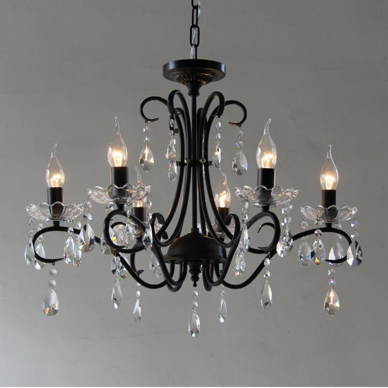 Retro Black Iron Bar Cafe Light Led Chandelier 6 E14/e12 American Style Vintage Light Hanging Crystal Lampadario Led Chandeliers Chandeliers Ceiling Lights & Fans
