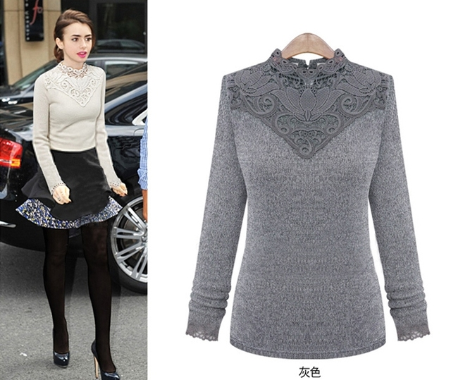 Plus Size Lady Fashion Blouse Tops 2017 Winter Style Hot Sale Lace Collar  Design Patchwork Sweater