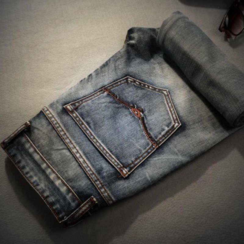AIRGRACIAS ブランドジーンズレトロ郷愁ストレートデニムジーンズ男性プラスサイズ 28-40 カジュアル男性長ズボンのズボンブランドバイカージーンズ