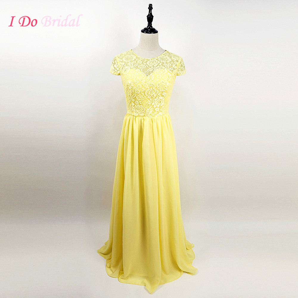 Light Yellow Lace Bridesmaid Dress Long 2016 Real Photos Cap Sleeve Floor Length Wedding Party Dresses Chiffon G48 In From Weddings