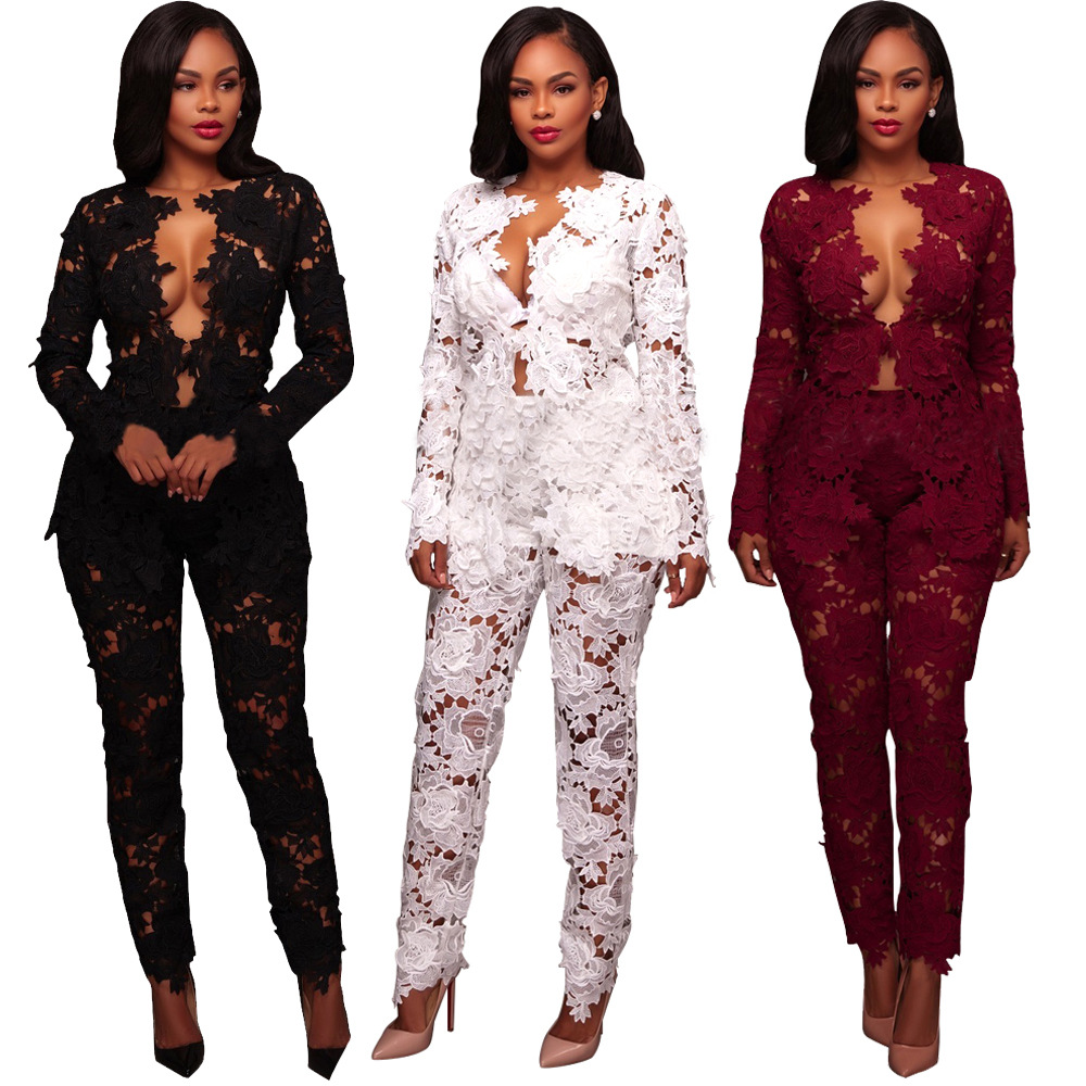 Free Shipping African Woman Clothing Lace Fabric Lace Hollow Process Long Sleeves Trousers Sexy Lace Suit White Black Red