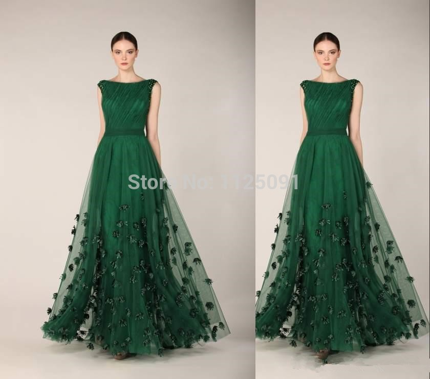 2015 Tony Ward Dark Green Maxi Long Evening Dresses Women Flowers Celebrity Pageant Party Gowns vestido de festa party dresses girl