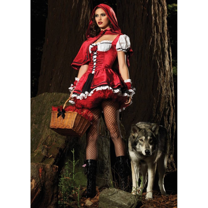 Sexy witch Cosplay Costume Women Fancy dress Halloween Party decorations Christmas dress Little Red Riding Hood