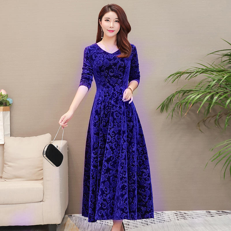 Autumn Winter Dress Women Elegant V Neck Gold Velvet Dress Long Sleeve Plus Size Women Maxi