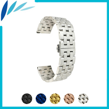 цена на Stainless Steel Watch Band 20mm 22mm for Omega Butterfly Buckle Strap Wrist Quick Release Loop Belt Bracelet Black Silver + Tool