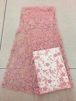 Новый модный тяжелых бисером Африки Французский кружевной ткани с 3D цветы на Тюль с вышивкой Свадебное платье кружева