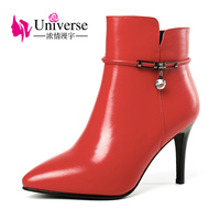 Universe 2017 now winter boots women high heel ankle boots genuine leather pointed toe shoes ladies elegant dress boots G310