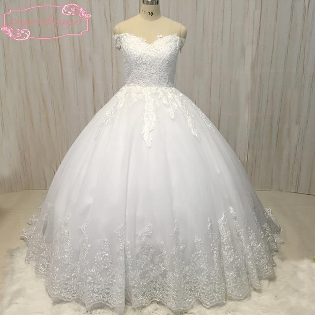 98281ab3 US $260.1 10% OFF|Prawdziwe zdjęcia suknia ślubna sweetheart dekolt  frezowanie perły cekiny puffy ball gonw arabia saudyjska wedding sukniach  ...