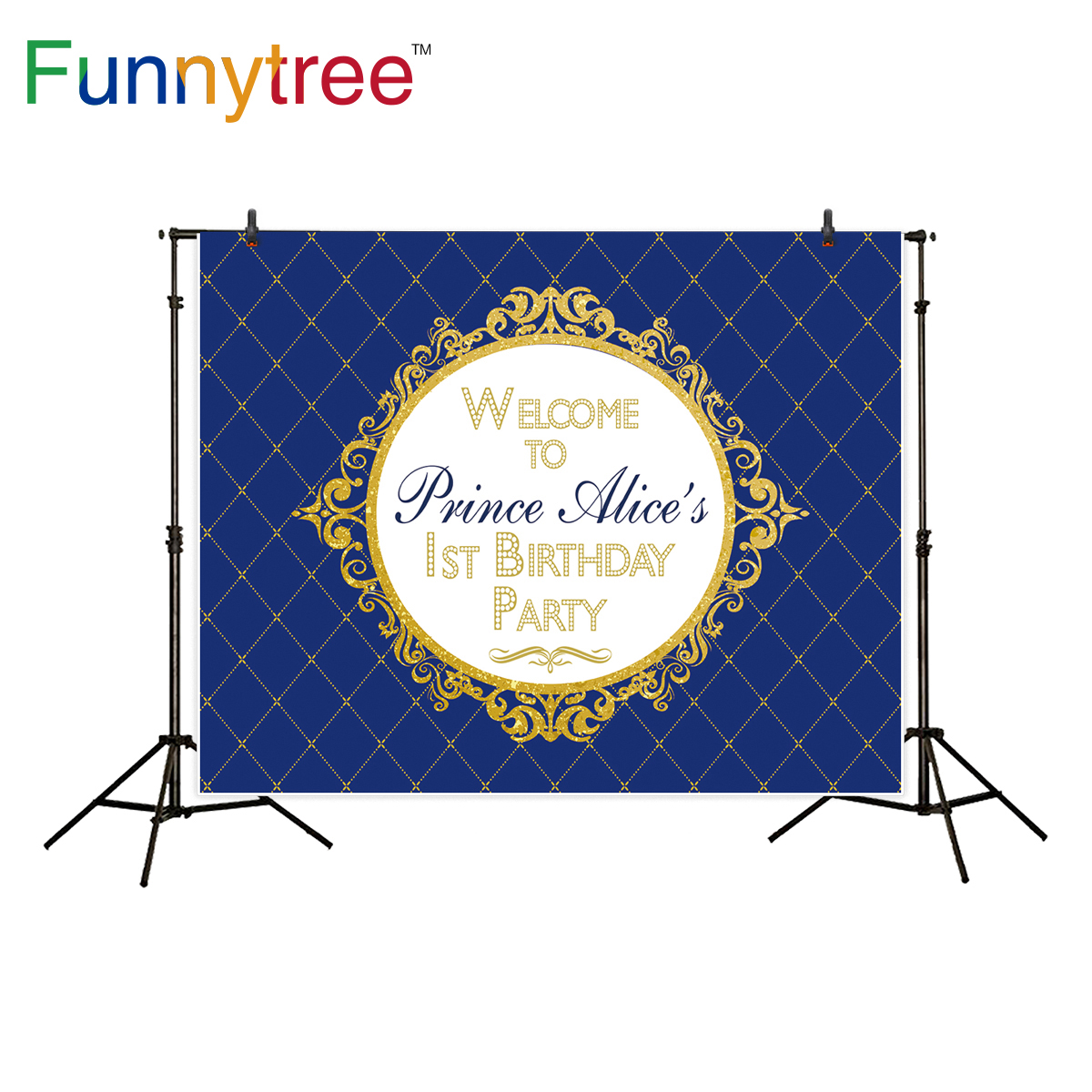 Funnytree backdrop photography studio prince royal blue classic frame birthday party luxury background photocall photo prop photography children s background birthday cake gift present greeting photocall customize cute studio photo prop