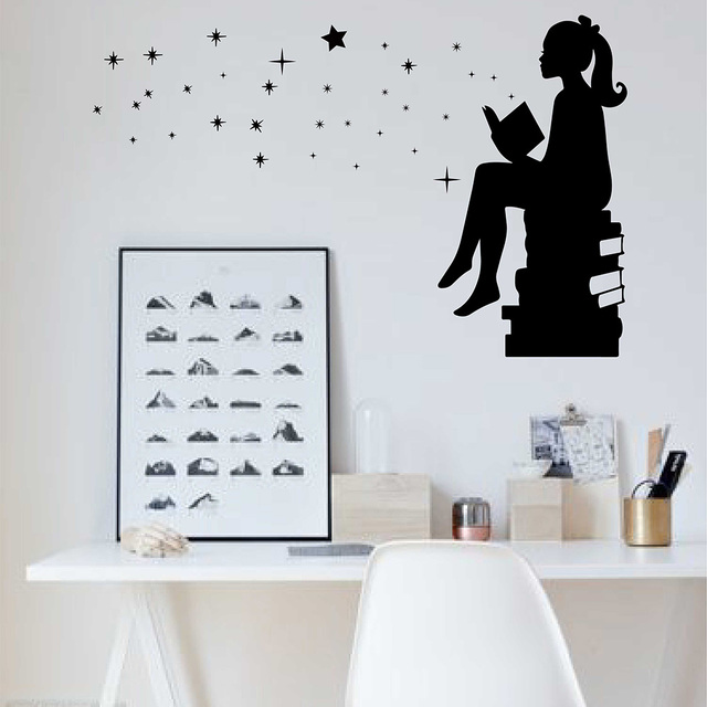 girl reading books magic wall decal vinyl removable art stickers for