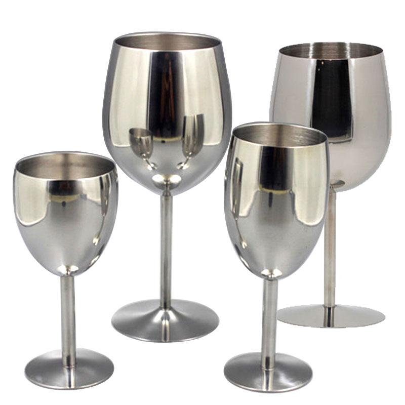 2Pcs Wine Glasses Stainless Steel 18/8 Metal Wineglass Bar Wine Glass Champagne Cocktail Drinking Cup Charms Party Supplies