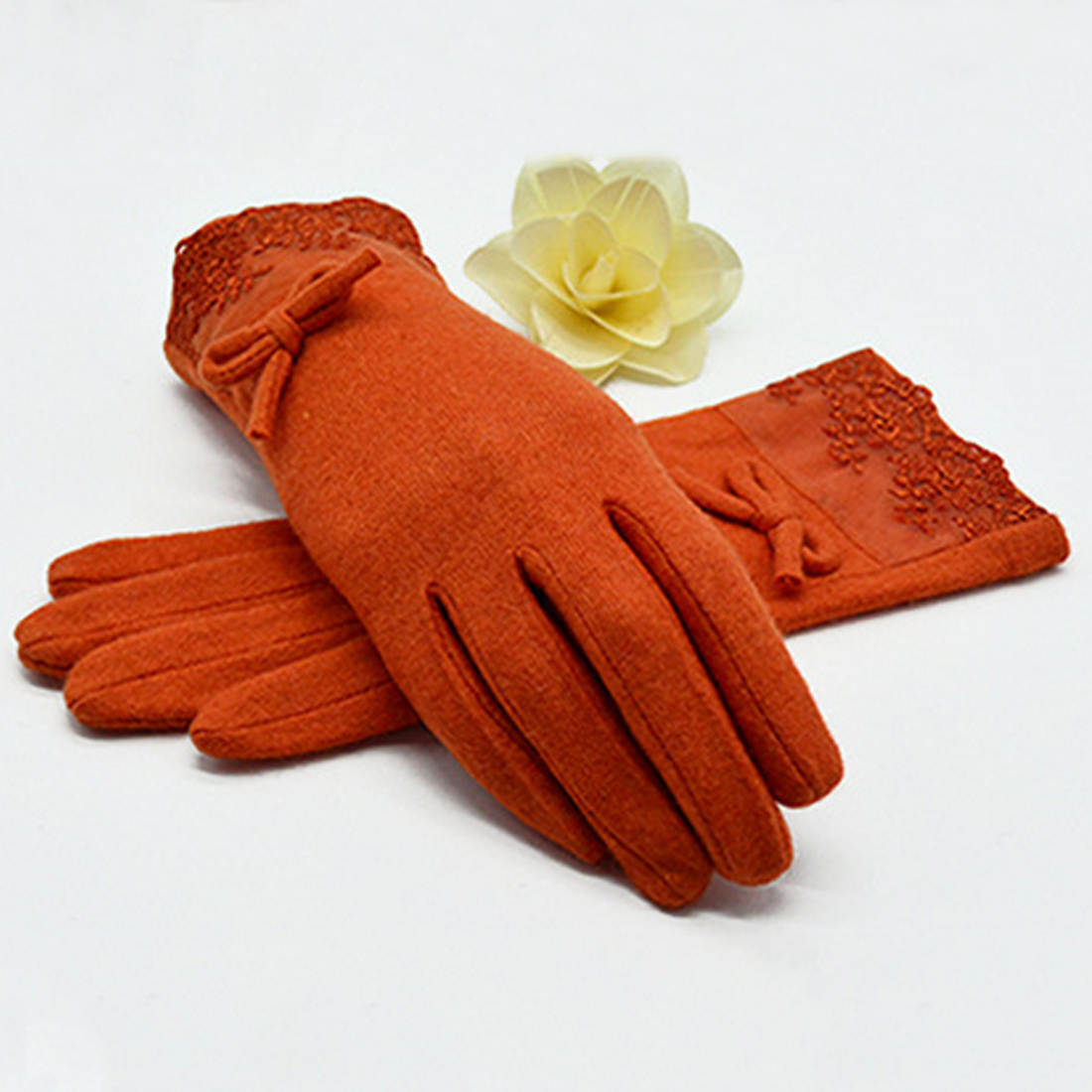 New Wool Cashmere Warm Gloves Women Winter Bow Decorations Lace Full Finger Gloves Wrist Length Mittens Female Women's Gloves