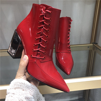Женские ботинки из лакированной кожи, Зимние ботильоны, теплые плюшевые черные ботинки, женская повседневная обувь с круглым носком, Ботинк